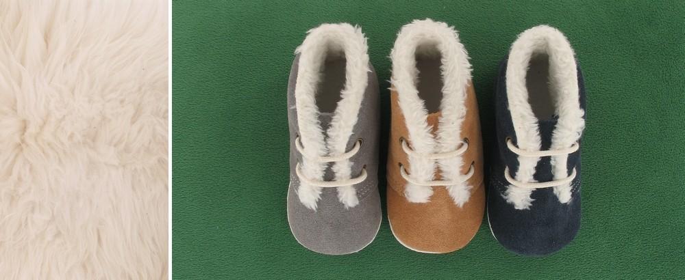 Le Petit Fils du Cordonnier presente sa collection de chausson bebe en cuir fourre